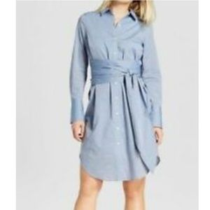 Who What Wear Blue Belted Shirt Dress